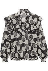 Topshop Unique Ruffled Floral Print Silk Georgette Blouse Black