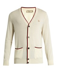 Maison Kitsune Fox Applique V Neck Wool Cardigan Cream