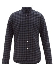 Oliver Spencer Clerkenwell Tab Checked Cotton Shirt Navy Multi