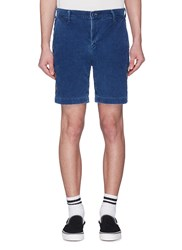 Remi Relief Floral Stud Outseam Corduroy Shorts Blue