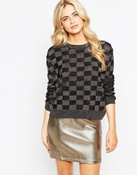 Pussycat London Jumper In Metallic Check Print Black