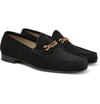 Tom Ford York Chain Trimmed Suede Loafers Black