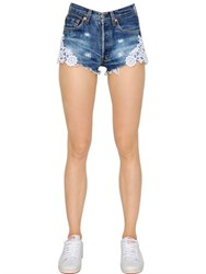 Forte Couture Lace And Distressed Cotton Denim Shorts