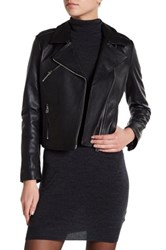 Doma Asymmetrical Zip Leather Jacket Black