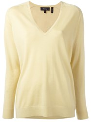 Theory V Neck Jumper Yellow Orange