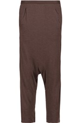 Rick Owens Cropped Stretch Jersey Straight Leg Pants Brown