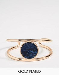 Pilgrim Gold Plated Ajustable Cuff Bracelet With Stone Rose Gold Blue