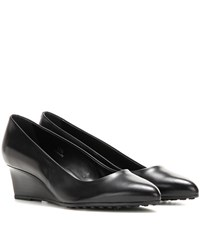 Tod's Leather Wedge Pumps Black