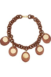 Kenneth Jay Lane Faux Wood And Gold Plated Necklace Brown