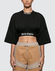 Palm Angels Cropped Logo Over Tee Black