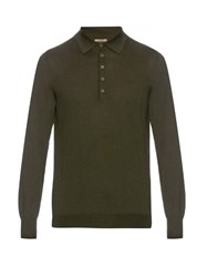 Bottega Veneta Long Sleeved Merino Wool Polo Shirt Green