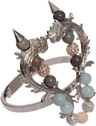 Fenton Silver And Crystal Delano Overlay Thin Cuff Colorless