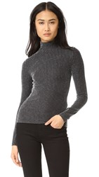 Bcbgmaxazria Slit Sleeve Turtleneck Top Silver Combo