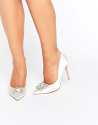 Dune Bridal Breanna Embellished Satin Court Shoes Ivory White