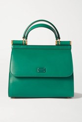 Dolce And Gabbana Sicily 58 Small Leather Tote Green