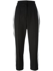 Dolce And Gabbana Contrast Piped Cropped Trousers Black