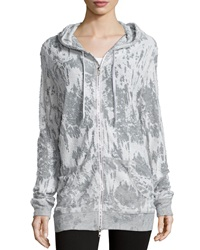 Norma Kamali Hooded Distressed Boyfriend Sweatshirt Gray