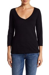14Th And Union 3 4 Sleeve V Neck Tee Black