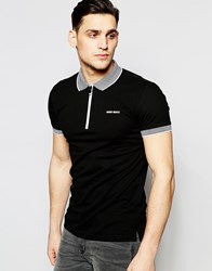Antony Morato Zip Neck Polo Shirt With Stripe Collar Black