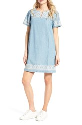 Madewell Women's Embroidered Chambray Tunic Dress