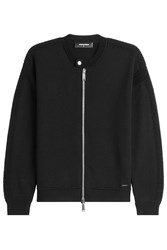 Dsquared2 Zipped Virgin Wool Cardigan Black