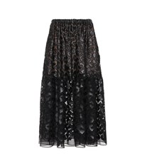 Stella Mccartney Faux Leather Embroidered Midi Skirt Black