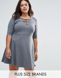 Alice And You Plus Skater Dress With Lace Up Front Charcoal Rib Grey