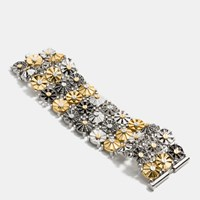 Coach Wide Daisy Rivet Bracelet Gold Silver