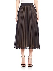 Abs By Allen Schwartz Pleated Chiffon Midi Skirt Black
