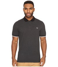 Fred Perry Chequerboard Print Pique Shirt Graphite Marl Men's Clothing Gray