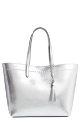 Cole Haan Payson Metallic Leather Tote Metallic Ch Silver