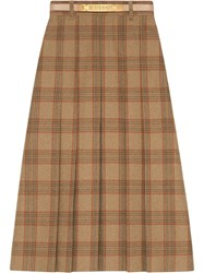 Gucci Check Wool A Line Skirt Brown