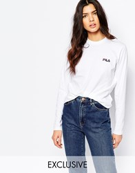 Fila Long Sleeve Top With Small Logo White