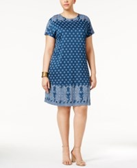 Lucky Brand Trendy Plus Size Printed T Shirt Dress Navy Multi