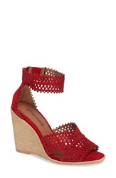 Jeffrey Campbell Besante Perforated Wedge Sandal Red Suede