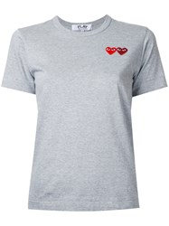 Comme Des Garcons Play Double Heart T Shirt Grey