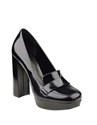 Nine West Dakimo Patent Leather Slip On Platforms Black