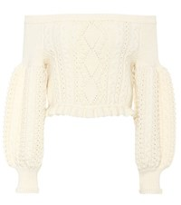 Valentino Cropped Off The Shoulder Wool Sweater White