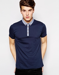 Brave Soul Polo Shirt With Contrast Detail Navy