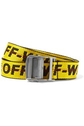 Off White Industrial Embroidered Canvas Belt Yellow