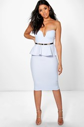 Boohoo Bandeau Belted Peplum Midi Dress Sky