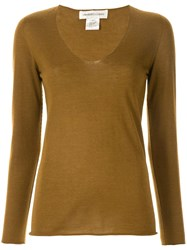 Lamberto Losani Long Sleeve Fitted Sweater Brown