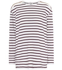 Victoria Beckham Striped Cotton T Shirt Multicoloured