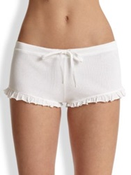 Skin Ruffle Drawstring Shorts White Navy Black