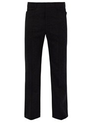 Saint Laurent Flared Wool Jacquard Trousers Black