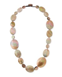 Viktoria Hayman Long Shell Disc Necklace 44 White