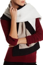 Anne Klein Oversized Colorblock Scarf Gray