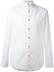 Philipp Plein Skull Button Shirt Men Cotton Spandex Elastane Xl White