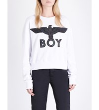 Boy London Eagle Embroidered Cotton Jersey Sweatshirt White