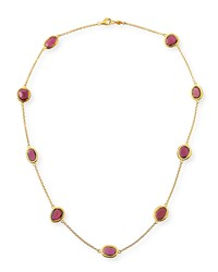 Gurhan 24K Amorphous Rhodolite Station Necklace